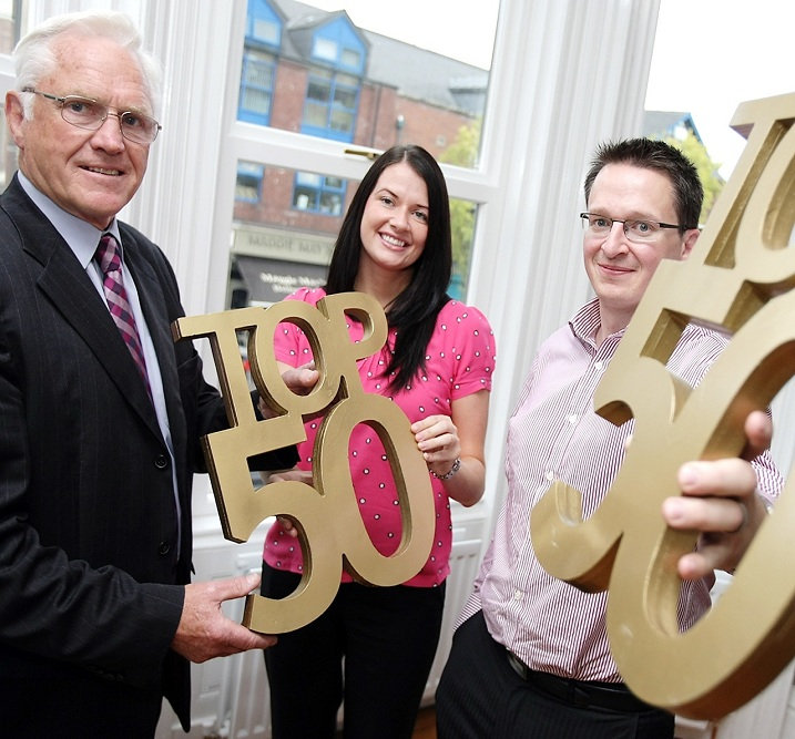 In picture: At the Lough Shore Investments Office, Botanic Avenue, Belfast is Stephen Morrow, Partner of Lough Shore Investments, Alderman Tom Ekin and Orlaith Adams, Belfast Media Group.